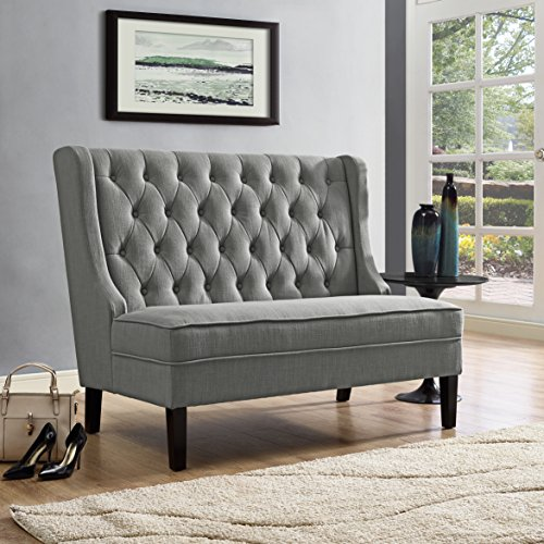 Pulaski DS-2187-400-10 Upholstered Tufted Settee Accent Chair, Ash Gray