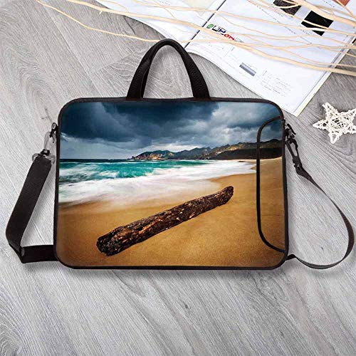 """Driftwood Decor Anti-Seismic Neoprene Laptop Bag,Seascape Theme Old Piece of Tree in The Beach with Stormy Weather Laptop Bag for Travel Office School,15.4""""L x 11""""W x 0.8""""H"""