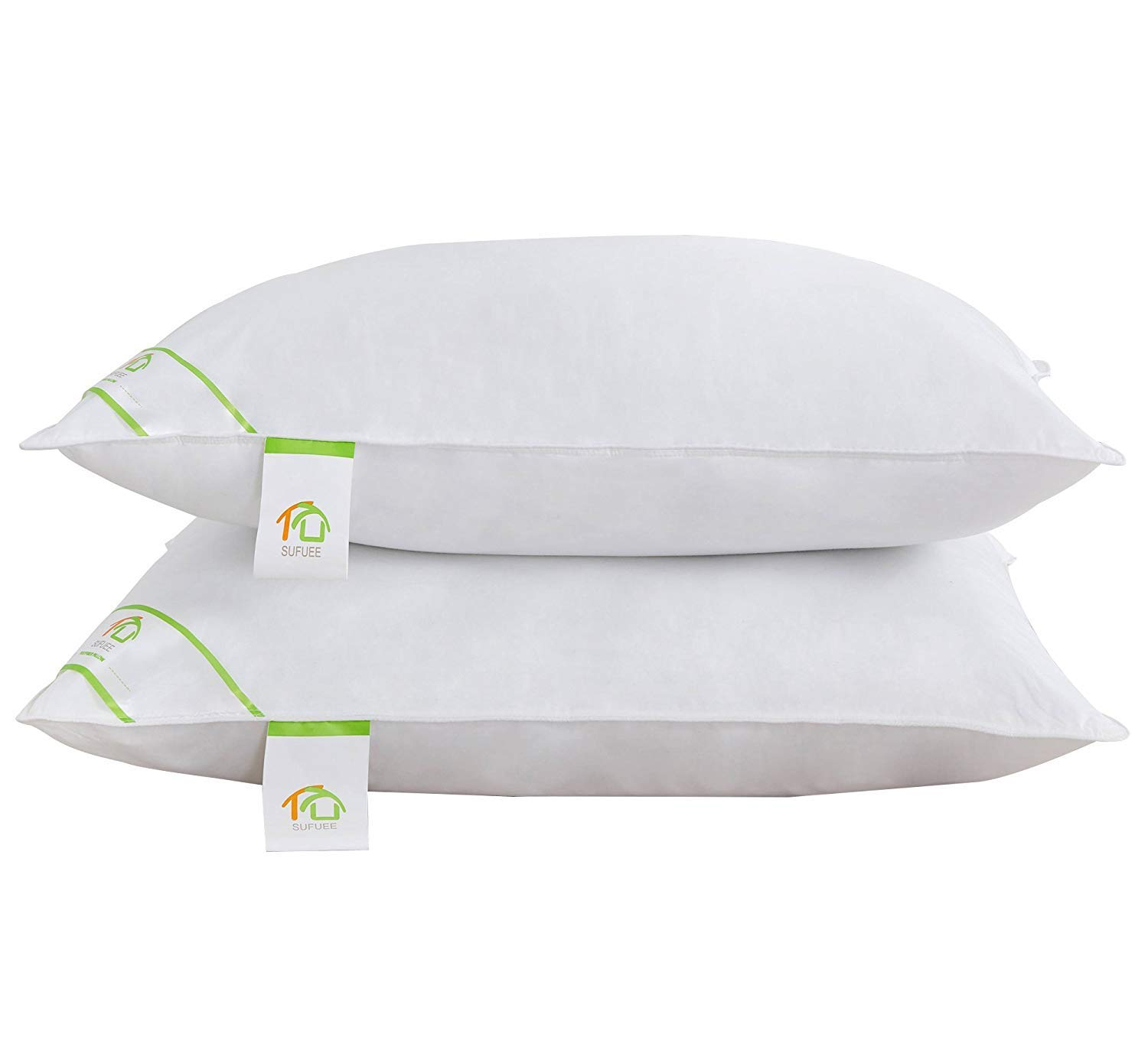 Goose Feather and Down Pillows Pair, Luxury Pillows with 100% Cotton Cover, Medium and Soft Firmness, Hotel Quality(48X74cm) DUO-V HOME