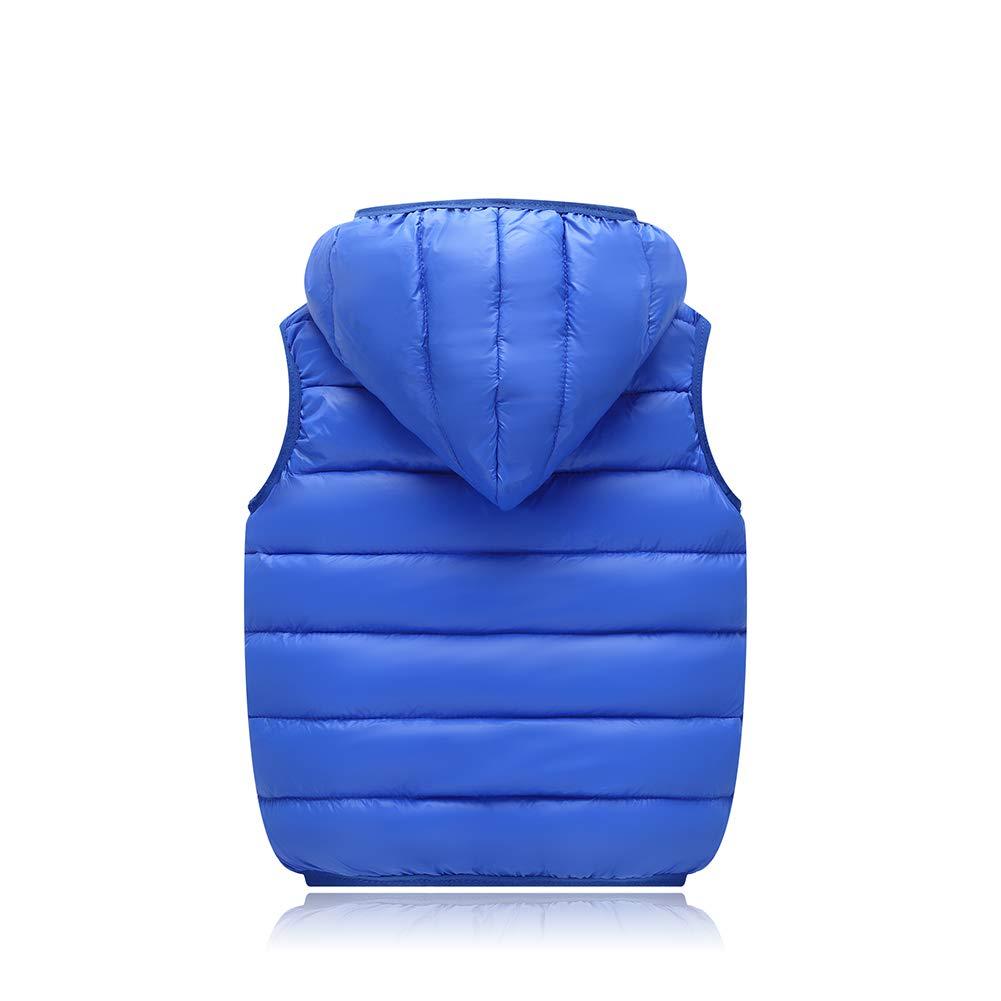 aomigell Boys Girls Puffer Down Vest Kids Lightweight Zip Quilted Sleeveless Jacket Winter Down Hooded Waistcoat Coat