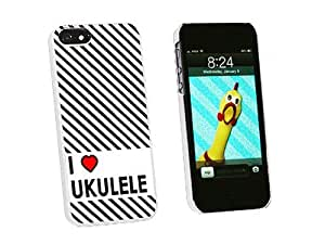 Graphics and More I Love Heart Ukulele Snap-On Hard Protective Case for iPhone 5/5s - Non-Retail Packaging - White