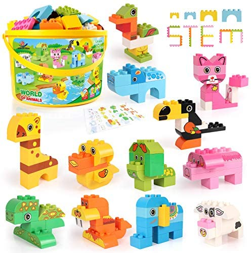 Building Blocks Set for Toddlers, Creative Large Building Bricks, Toy Animals Building Kit with Storage Box, Preschool Learning Educational Toys for Kids Boys Girls Gifts for 3+ Years Old (122 Pieces)