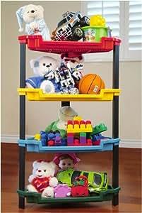 Corner 4 Tier Toy Storage Plastic Shelf in Multicolor