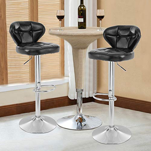 Set of 2 Adjustable Bar Stools, Swivel Barstool Chairs with Back, Pub Kitchen Counter Height Dining Chairs, Retro Black, Height Adjustable 33-40 - Counter 39 Inch