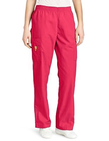 WonderWink Women's Scrubs Quebec Full Elastic Cargo Pant, Hot Pink, X-Large - Hot Pink Scrub Pants