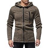 kaifongfu Hoodie Tops,Men Slim Solid Color Long Sleeve Zipper Sweatshirt Outwear Blouse (Brown,2XL)