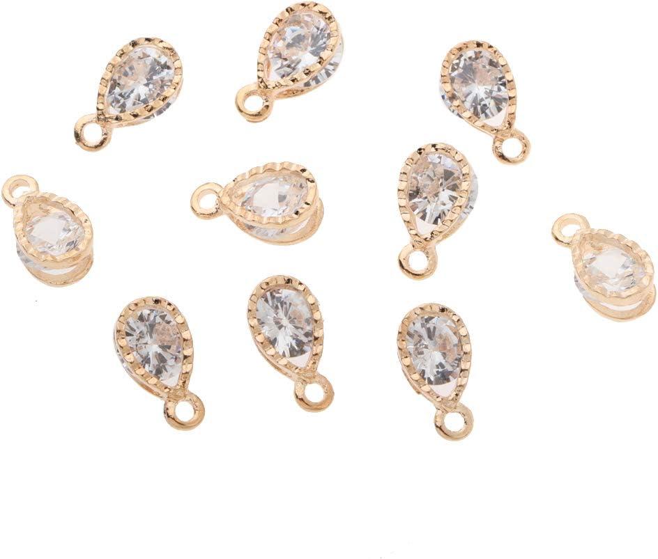 IPOTCH 10x Colgante Forma de Lágrima con Perlas de Imitación de Aleación Accesorios Artesanal Decorativo para Bolso, Ropas, Llavero - #C