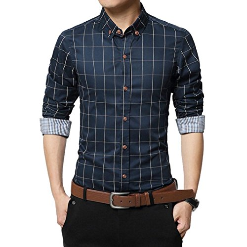 Realdo Mens Plaid Shirt, Men's Business Slim Long Sleeve Casual Social Blouse Top(Navy,Large)