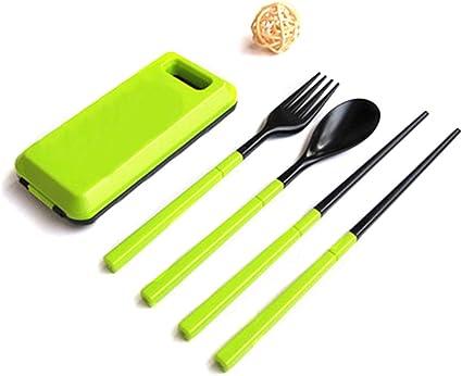 Juego de cubiertos para palillos, cuchara, tenedor con funda ...