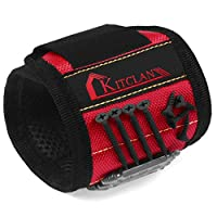 Magnetic Wristband, Kitclan Magnet Wristband with 5 Powerful Magnets, Adjustable Velcro Strap for Holding Tools, Screws, Nails, Bolts, Drilling Bits and Small tools (Red)