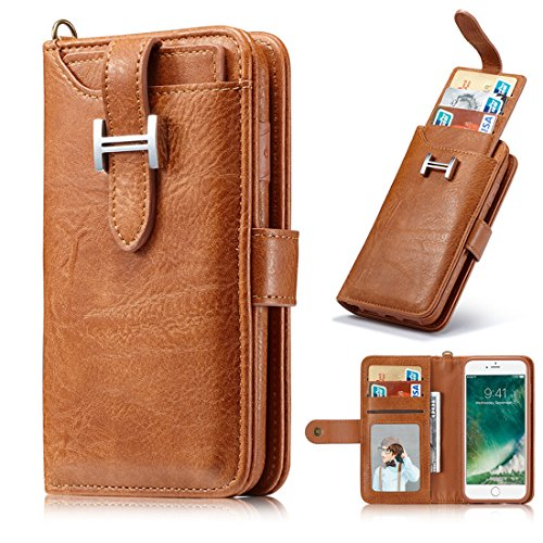 iPhone X Wallet Case, Ayans iPhone X Case with Detachable Slim Case, [Folio Style] PU leather wallet case with Card Slots Holder Wrist Strap for Apple iPhone X (5.8 inch) by Ayans