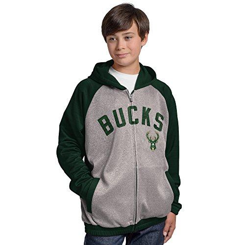G-III Sports NBA Milwaukee Bucks Legend Hooded Track Jacket, X-Large, Gray