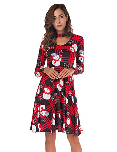 Roshop Women's Choker V-Neck Christmas Pattern Long Sleeve Flare Swing Cocktail Party Dresses (XL, Red -