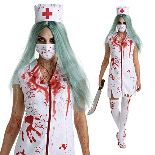 [Womens Zombie Nurse Costume Ladies Halloween Costume 3 Sizes] (Womens Nurse Halloween Costumes)