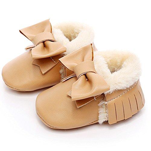 Hunpta Baby Schneestiefel Bowknot weiche Sohle weiche Krippe Baumwolle Schuhe Kleinkind Stiefel (Alter: 6 ~ 12 Monate, Rot) Khaki