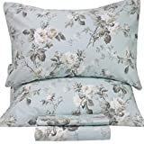 SexyTown French Country Garden Toile Floral Printed Duvet Quilt Cover Egyptian Cotton Bedding Set Chinoiserie Peony Blossom Tree Branches Multicolored Design Queen Light Green
