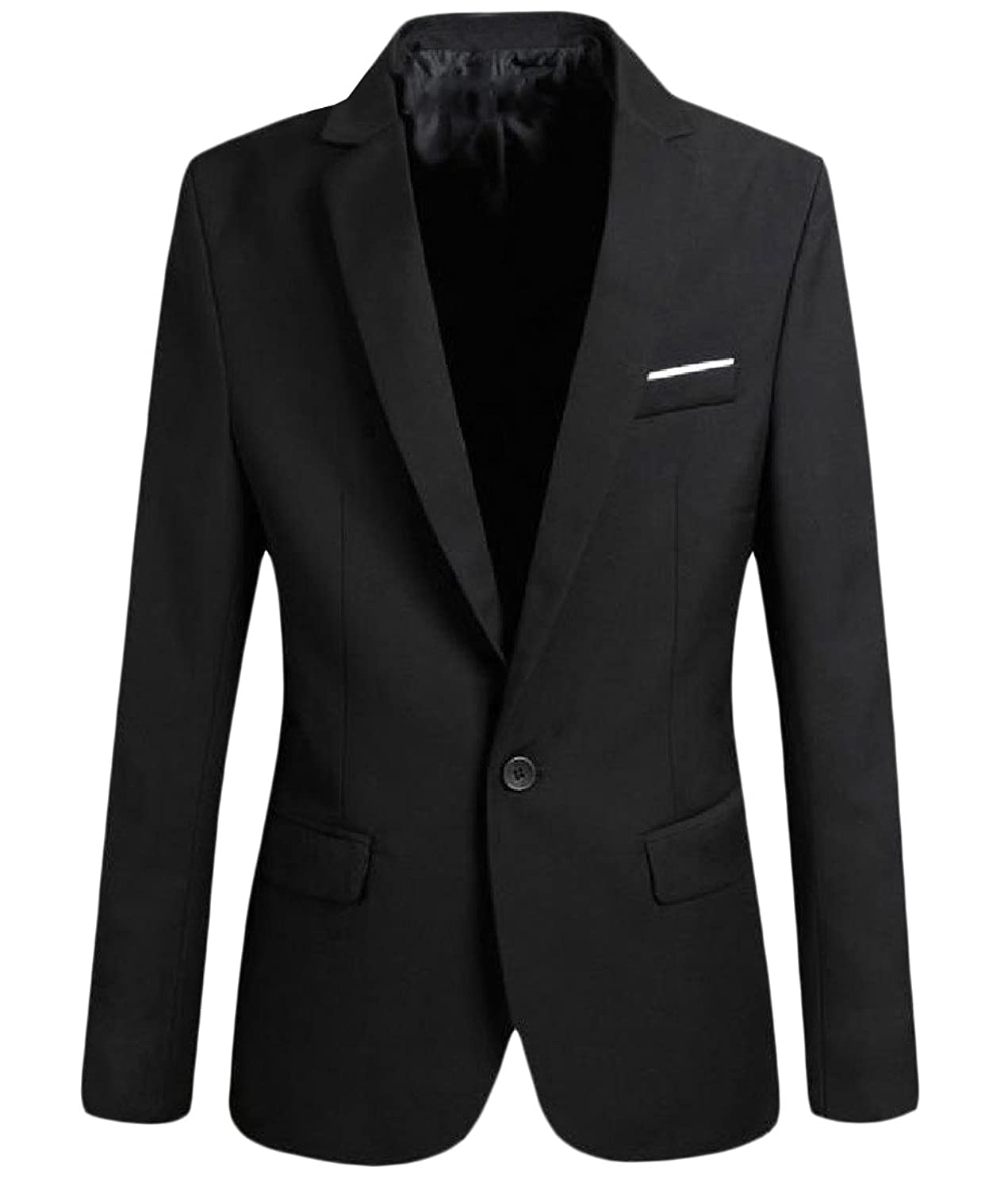 New Comfy Men's Stylish Single Button Solid Color Coats Jacket Blazer for cheap
