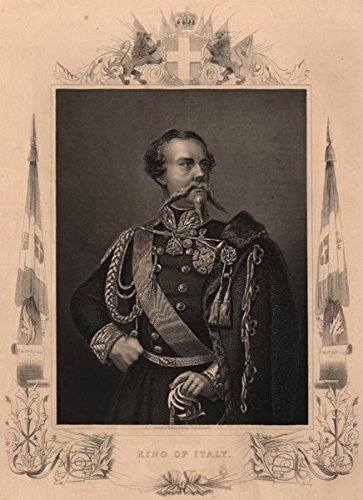 1860 Italy Antique (ITALY. King Victor Emanuel II of Italy. Crimean War - 1860 - old print - antique print - vintage print - Italy art prints)