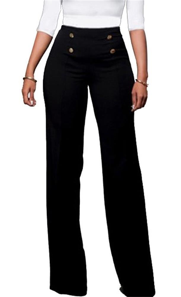 HuiSiFang Women's Casual Stretchy High Waisted Button Down Wide Leg Long Pants Plus Size Black L