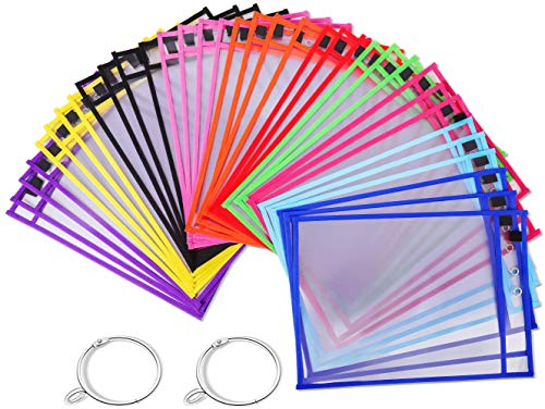 Puroma 35 Pack Dry-Erase Pockets Reusable Plastic Sleeves Assorted Colors Waterproof Pocket with 2 Rings for Classroom…