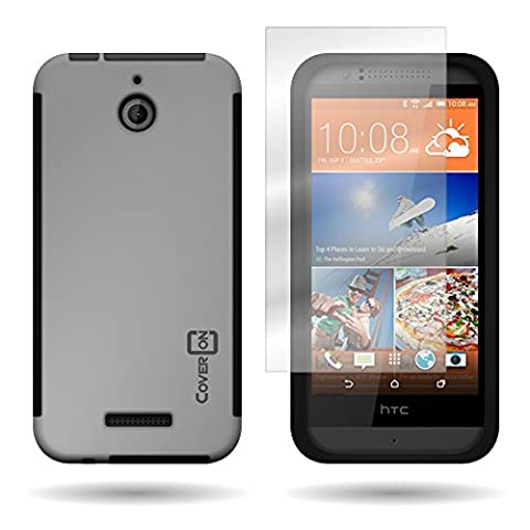 CoverON for HTC Desire 510 - Hybrid Hard Rubberized Plastic Case - Grey + Black Cover Included Screen (Htc Desire 510 Flap Case)
