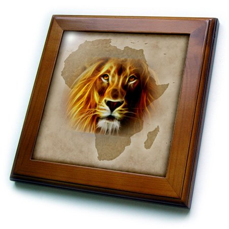 3dRose ft_184661_1 King of The Jungle Lion and Africa Map Art Original Framed Tile, 8 by 8