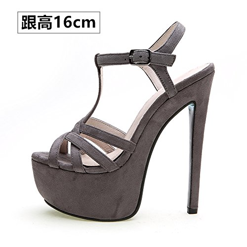 Xing Lin Ladies High Heel Sandals 14Cm High With Shoes Women Summer New Fine With Sandals Waterproof One Night, Fish Mouth Night Life. Light gray fleece -R08 with high 16cm