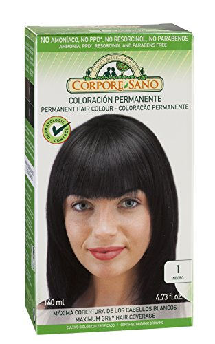 Corpore Sano Permanent Hair Color Dye(Does Not Contain:PPD, AMMONIA, RESORCINOL, PARABENS.(~ 1 Black)