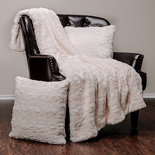 "Chanasya Super Soft Fuzzy Fur Faux Fur Cozy Warm Fluffy Beautiful Color Variation Print Plush Sherpa Ivory Fur Microfiber Throw Blanket (50"" x 65"") & 2 pillow Covers ( 18""x18"") Set"