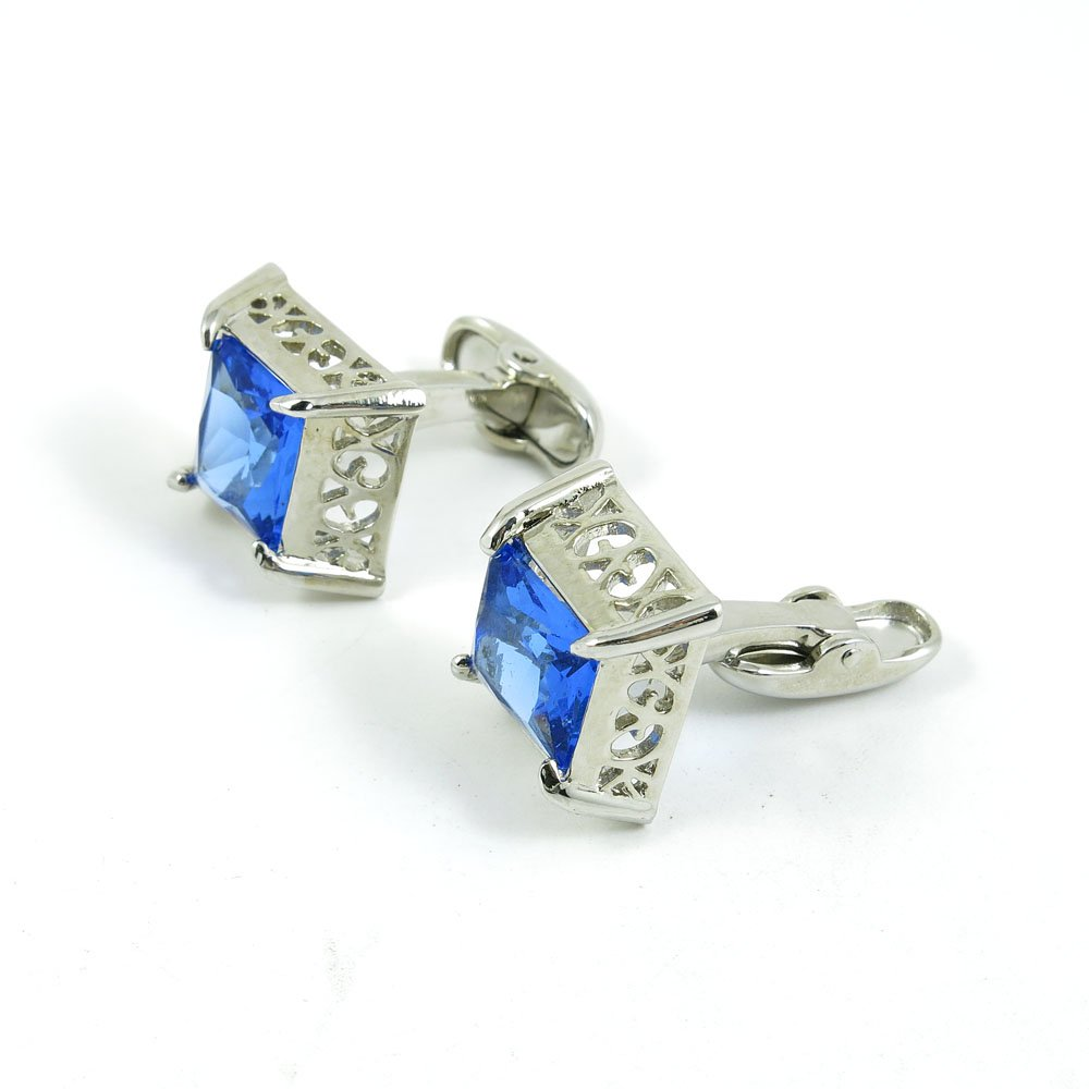 50 Pairs Cufflinks Cuff Links Fashion Mens Boys Jewelry Wedding Party Favors Gift MOR071 Hollow Carving Blue Crystal