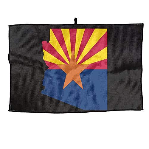 (KLQ Custom Golf Towel Arizona State Flag Map Sports Towel Player Towel 23.6x15 Inches)