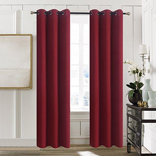 Aquazolax Premium Grommets Thermal Blackout Drapery Solid Curtain Panels Christmas for Sliding Glass Doors, 2 Panels, 42