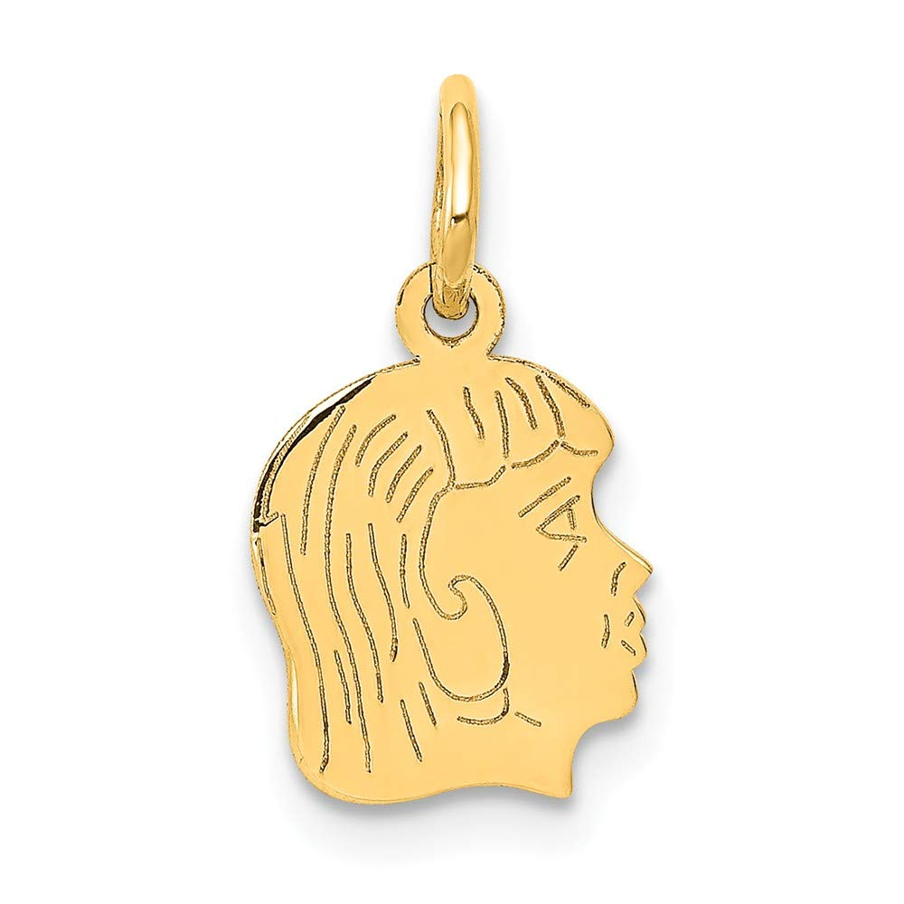 Solid 14k Yellow Gold Girl Head Charm Pendant 17mm x 4mm