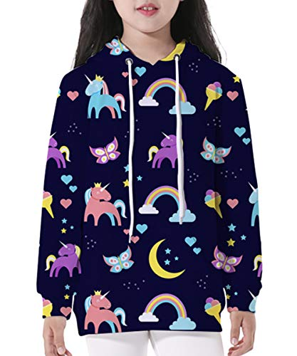 Butterfly Hooded Pullover - GLUDEAR Boy Girl 3D Galaxy Unicorn Print Sweatshirts Pocket Pullover Hoodies,Butterfly Unicorn,L