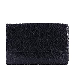 Women's Elegant Lace Cloth Sequin Clutch Evening