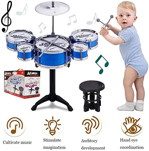 SKLOER Kids Drum Set-Educational Percussion Instrument Kids Toy Stimulating Children\u2019s Creativity-Jazz Drum Set Ideal Gift for KidsBoys and Girls - Blue