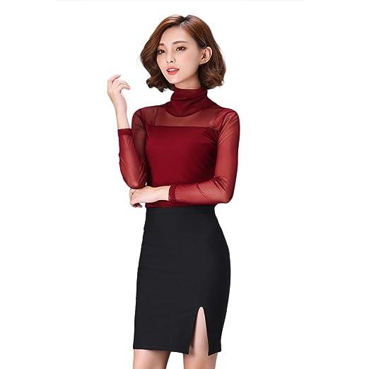 f44f55ad761fc Amazon.com  Womens Transparent Sheer Mesh t Shirt Long Sleeve Turtleneck  Slim T Shirt Tee Tops  Clothing