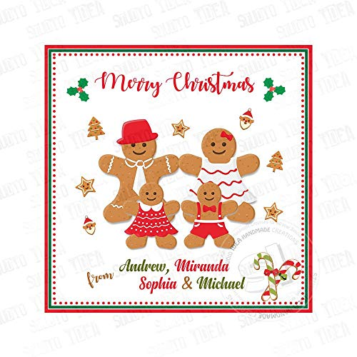 Printable Custom Gingerbread Cookie Family Tagsholidays Wishes Personalized Tags Stickers 2.5 Inches with 15Pcs ()