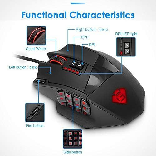 Wired Gaming Mouse, Souris RVB Rétroéclairé Programmed Conçu Ergonomiquement 16400 Capteur DPI pour Un Positionnement Précis pour Les Jeux Bureau