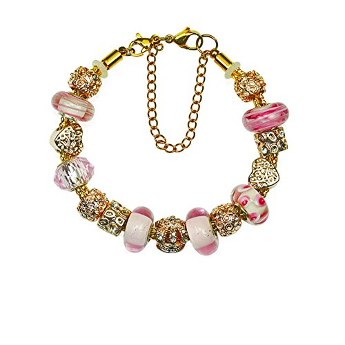 Gold Plated Love Heart Charm Bracelet with Charms for Pandora Bracelets Pink Crown for Women DIY Handmade Christmas Birthday Gifts 7.5 - Replica Kors Uk Michael