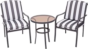 3 Pieces Outdoor Furniture,Patio Table and Chairs, Dinning Table and chais, Patio Conversation Set, Porch Patio Set, Furniture Patio All-Weather Outdoor Patio Furniture (Zebra Stripe)