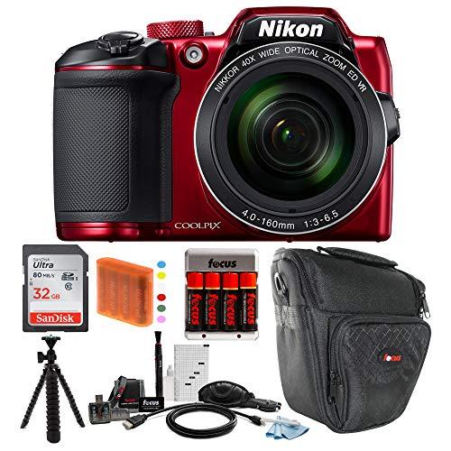 Nikon COOLPIX B500 Digital Camera (Red) with 32GB Memory Card & Focus Bundle