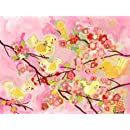 Oopsy Daisy Cherry Blossom Birdies Pink and Yellow Wall Art, 24 by 18