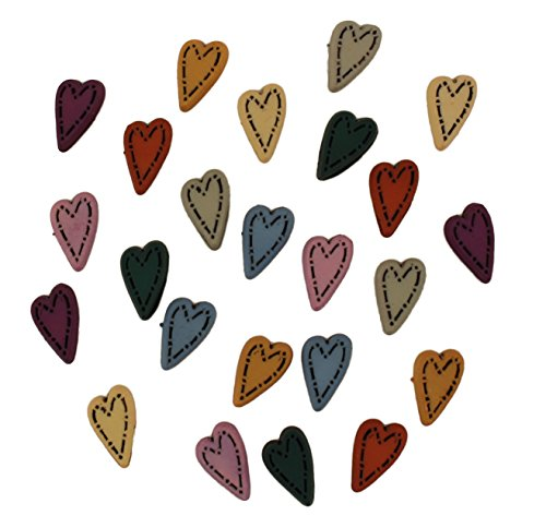 Buttons Galore Craft & Sewing Buttons - Folk Hearts - 3 Packs (72 Buttons) ()