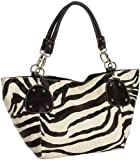 Christmas Countdown Sale! FASH Zebra Stripped Faux Leather Top Zip Tote Office Handbag,Black,One Size