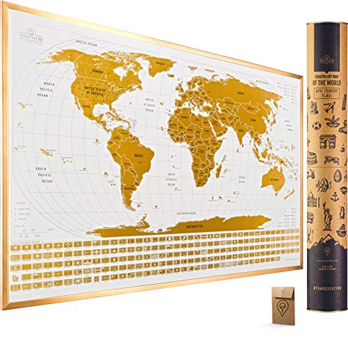 Large Scratch Off Map of The World with Flags - 24x17 inches Scratch Off World Map Wall Poster with US States & Flags - Original Travel World Scratch Map, Travel Decor, Designed for Travelers (Map World Christmas Island)