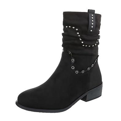 Zapatos para mujer Botas Tacón ancho Botines camperos Negro Tamaño 39: Amazon.es: Zapatos y complementos