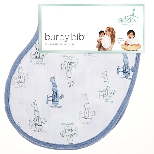 "aden by aden + anais Burpy Bib, 100% Cotton Muslin, Soft Absorbent 4 Layers, Multi-Use Burp Cloth and Bib, 22.5"" X 11"", Single, Sky High - Plane"