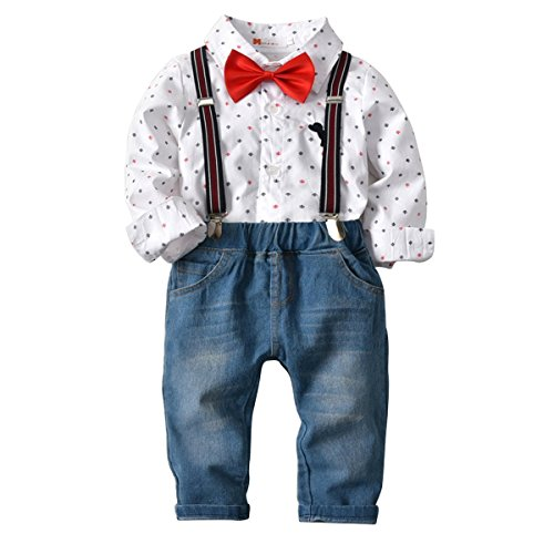 Kid Boy Outfit Long Sleeve Shirt + Bow Tie + Strap + Long Denim Pants 4Pcs (6-7T)