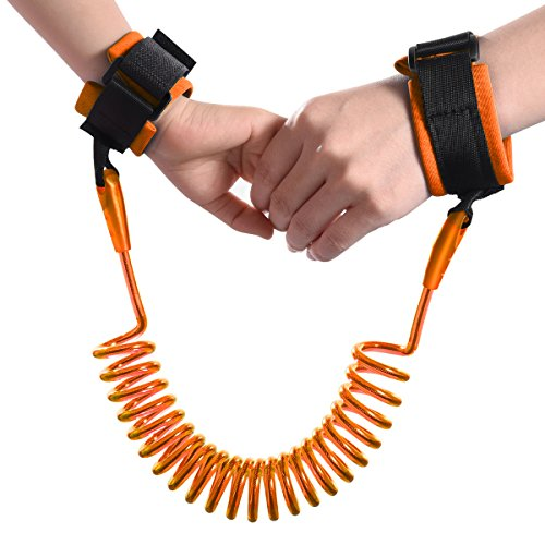 Child Anti-lost Wrist Band, Toddler Kids Baby Safety Walking Harness Hand Belt Strap w/ Adjustable Soft Velcro Wristband, 1.5m / 4.9Feet Elastic Steel Wire Rope, Leash Link for Travel Outdoor - Beach Orange Outlet Mall